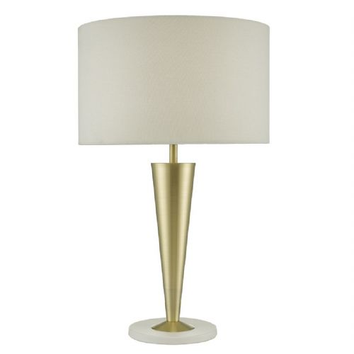 Gunnar Table Lamp Brushed Gold & White complete with Shade (Class 2 Double Insulated) BXGUN4213-17